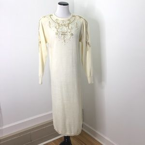 Vintage Cream Beaded Long Knit Sweater Dress
